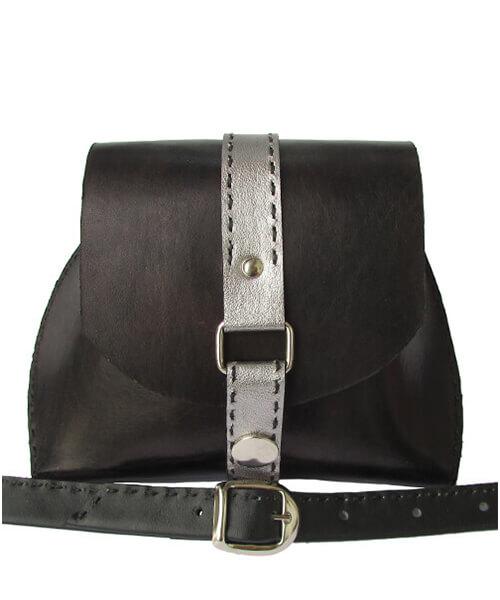 Usnjena torbica Silver Belt